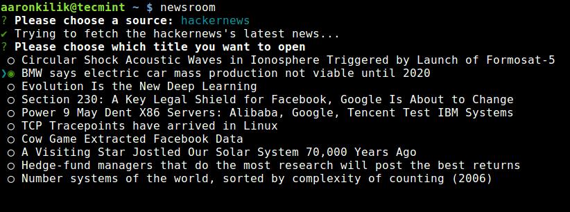 新闻室命令行 RSS 阅读器