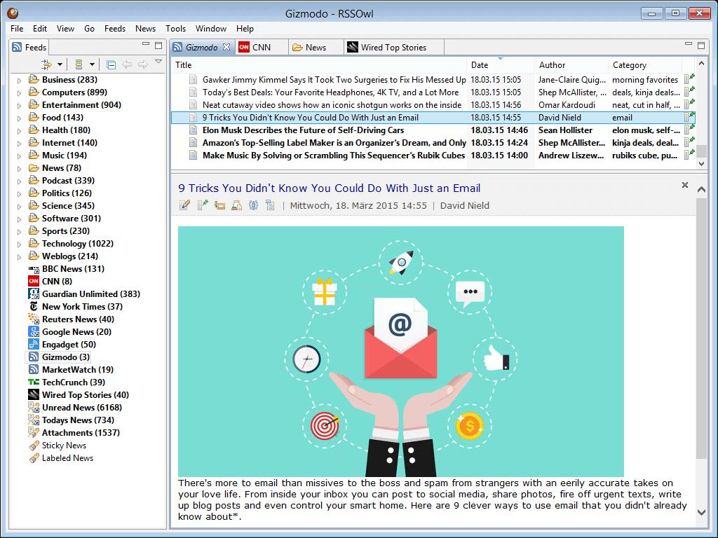 适用于 Linux 的 RSSOwl Feed 阅读器